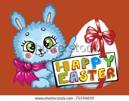 cartoon easter bunnies and eggs. easter bunnies and eggs cards.