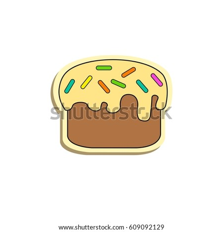 Cute Easter cake, flat style, illustration on a white background, logo sweets, vector.