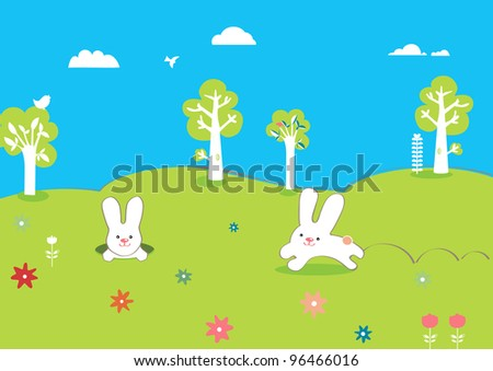 cute easter card with trees and rabbits