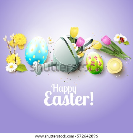 Cute Easter greeting card with flowers, Easter eggs and watering can #572642896