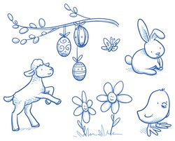 Cute easter icon and animal pet collection, with easter eggs, flowers, rabbit, lamb, chicks and butterfly, willow branch. Hand drawn vector illustration.