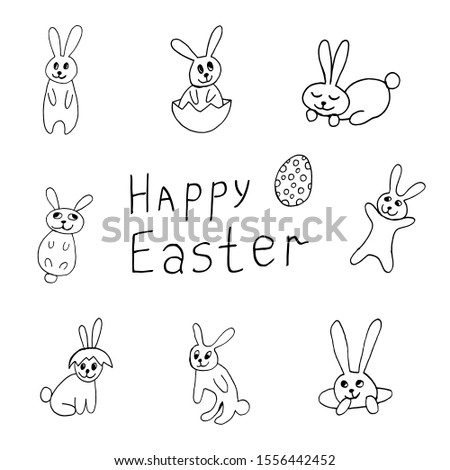 cute easter icon and animal pet