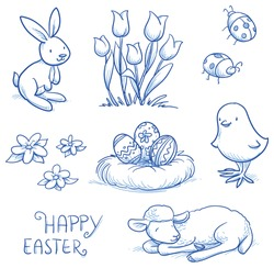 Cute easter icon and animal pet collection, with easter eggs in nest, tulip flowers, rabbit, lamb, chick and lady bugs. Hand drawn vector illustration.