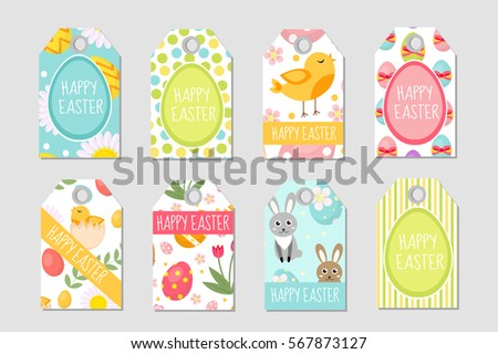 Easter gift tag vector set download free vector art stock cute easter tags set labels collection with easter rabbit eggs and flowers spring negle Images