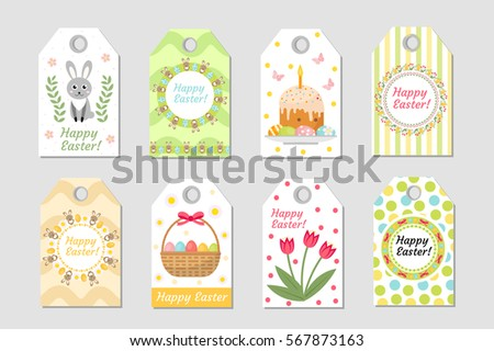 Cute easter gift tag collection download free vector art stock cute easter tags set labels collection with easter rabbit eggs and flowers spring negle Images