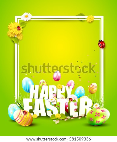 cute easter template with