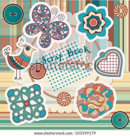 Cute elements for scrap-booking, each element is isolated