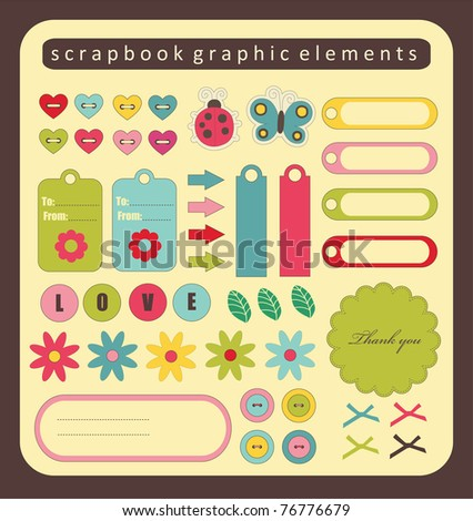 cute elements for scrap-booking. vector illustration