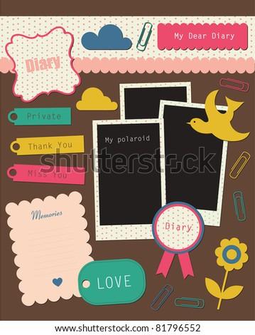 cute elements for scrap-booking. vector illustration