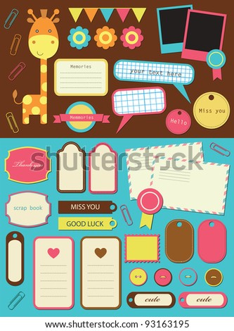 cute elements for scrapbooking. vector illustration
