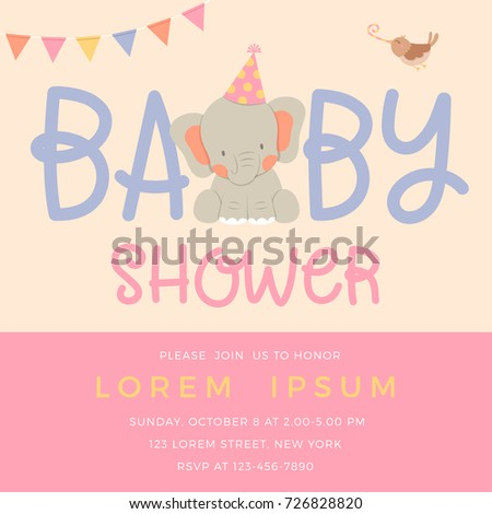 Cute elephant and bird illustration for girl baby shower card template