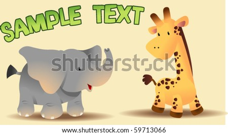 cute elephant and giraffe