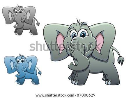 Cute elephant baby isolated on white background for design. Rasterized version also available in gallery