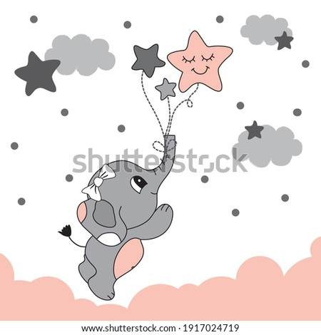 Cute elephant baby to fly with the stars. Baby room wall decor. Baby shower card. It's a Girl! | Wishes and Congratulations card for a Newborn Baby Girl.