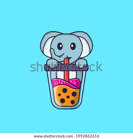 Cute elephant Drinking Boba milk tea. Animal cartoon concept isolated. Can used for t-shirt, greeting card, invitation card or mascot.