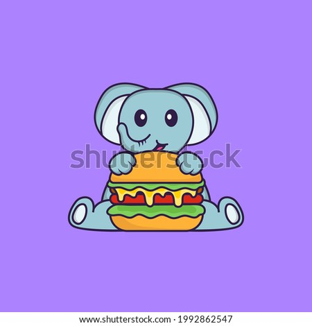 Cute elephant eating burger. Animal cartoon concept isolated. Can used for t-shirt, greeting card, invitation card or mascot.
