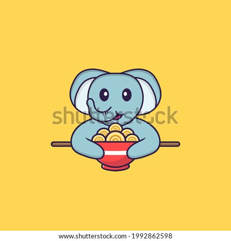 Cute elephant eating ramen noodles. Animal cartoon concept isolated. Can used for t-shirt, greeting card, invitation card or mascot.