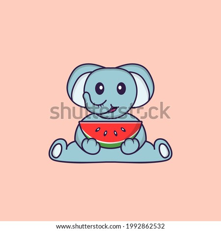 Cute elephant eating watermelon. Animal cartoon concept isolated. Can used for t-shirt, greeting card, invitation card or mascot.