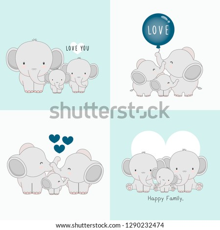 Cute elephant family with a little elephant in the middle.