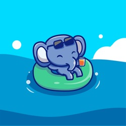 Cute Elephant Floating With Swimming Tires Cartoon Vector Icon Illustration. Animal Icon Concept Isolated Premium Vector. Flat Cartoon Style