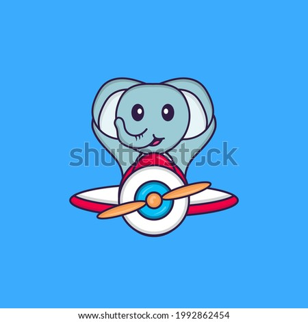 Cute elephant flying on a plane. Animal cartoon concept isolated. Can used for t-shirt, greeting card, invitation card or mascot.