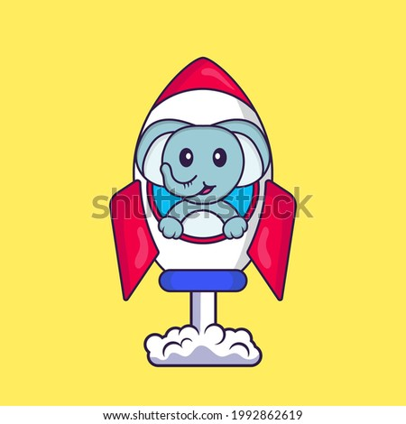 Cute elephant flying on rocket. Animal cartoon concept isolated. Can used for t-shirt, greeting card, invitation card or mascot.
