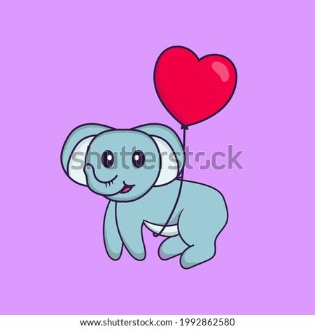 Cute elephant flying with love shaped balloons. Animal cartoon concept isolated. Can used for t-shirt, greeting card, invitation card or mascot.