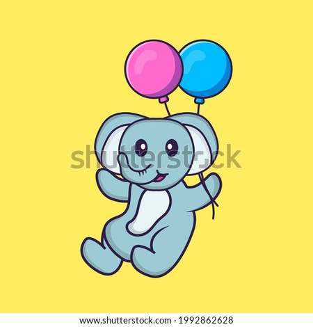 Cute elephant flying with two balloons. Animal cartoon concept isolated. Can used for t-shirt, greeting card, invitation card or mascot.
