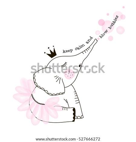 cute elephant girl blowing bubbles, doodle nursery illustration