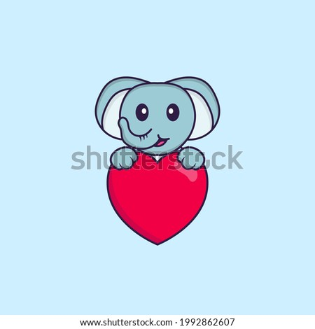 Cute elephant holding a big red heart. Animal cartoon concept isolated. Can used for t-shirt, greeting card, invitation card or mascot.