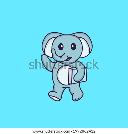 Cute elephant holding a book. Animal cartoon concept isolated. Can used for t-shirt, greeting card, invitation card or mascot.