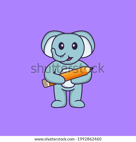 Cute elephant holding a pencil. Animal cartoon concept isolated. Can used for t-shirt, greeting card, invitation card or mascot.