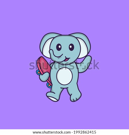 Cute elephant holding a skateboard. Animal cartoon concept isolated. Can used for t-shirt, greeting card, invitation card or mascot.