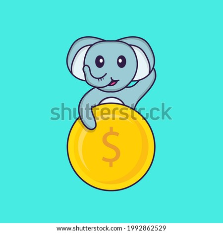 Cute elephant holding coin. Animal cartoon concept isolated. Can used for t-shirt, greeting card, invitation card or mascot.