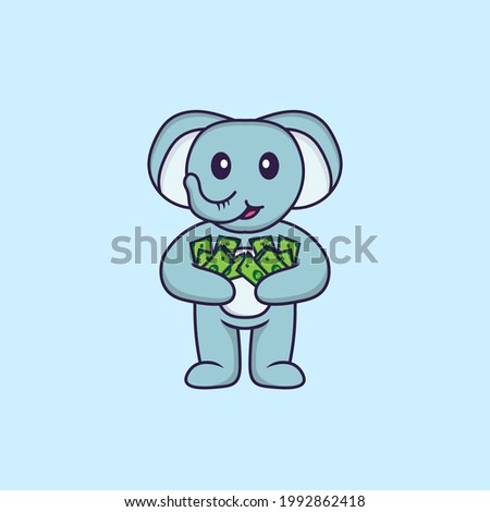 Cute elephant holding money. Animal cartoon concept isolated. Can used for t-shirt, greeting card, invitation card or mascot.