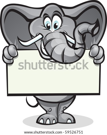 Cute elephant holding up a sign. Separated into layers for easy editing.
