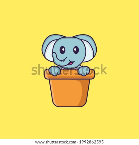 Cute elephant in a flower vase. Animal cartoon concept isolated. Can used for t-shirt, greeting card, invitation card or mascot. Flat Cartoon Style
