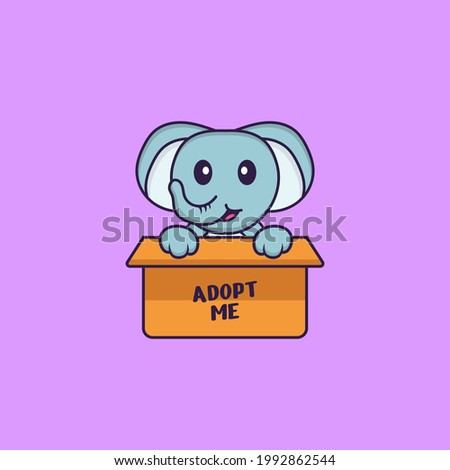 Cute elephant in box with a poster Adopt me. Animal cartoon concept isolated. Can used for t-shirt, greeting card, invitation card or mascot.