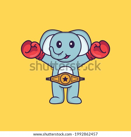Cute elephant in boxer costume with champion belt. Animal cartoon concept isolated. Can used for t-shirt, greeting card, invitation card or mascot.