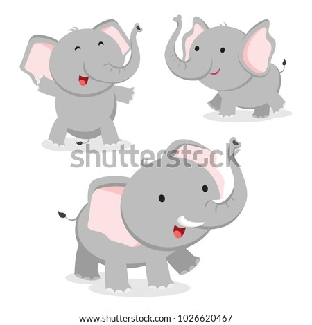 Cute elephant in different poses. Vector illustration.
