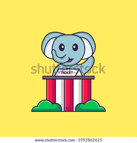 Cute elephant is being a ticket keeper. Animal cartoon concept isolated. Can used for t-shirt, greeting card, invitation card or mascot.