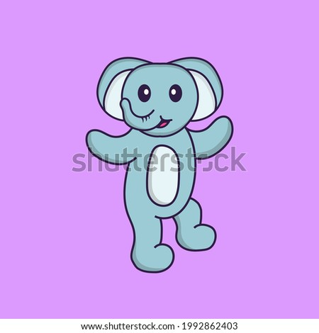 Cute elephant is dancing. Animal cartoon concept isolated. Can used for t-shirt, greeting card, invitation card or mascot.