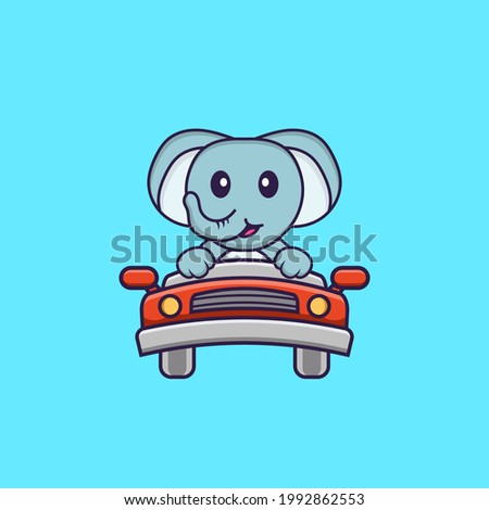 Cute elephant is driving. Animal cartoon concept isolated. Can used for t-shirt, greeting card, invitation card or mascot.