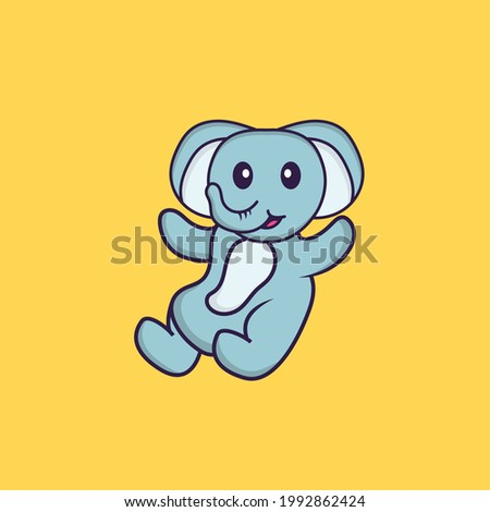 Cute elephant is flying. Animal cartoon concept isolated. Can used for t-shirt, greeting card, invitation card or mascot.