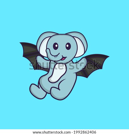 Cute elephant is flying with wings. Animal cartoon concept isolated. Can used for t-shirt, greeting card, invitation card or mascot.