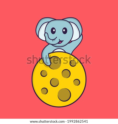 Cute elephant is on the moon. Animal cartoon concept isolated. Can used for t-shirt, greeting card, invitation card or mascot.