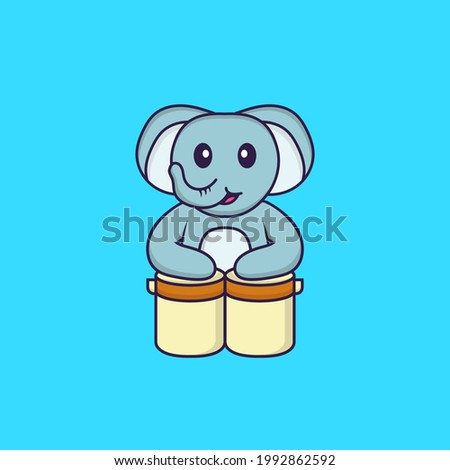 Cute elephant is playing drums. Animal cartoon concept isolated. Can used for t-shirt, greeting card, invitation card or mascot.