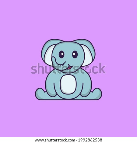 Cute elephant is sitting. Animal cartoon concept isolated. Can used for t-shirt, greeting card, invitation card or mascot.