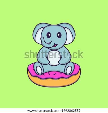 Cute elephant is sitting on donuts. Animal cartoon concept isolated. Can used for t-shirt, greeting card, invitation card or mascot.