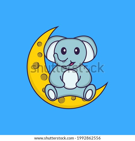 Cute elephant is sitting on the moon. Animal cartoon concept isolated. Can used for t-shirt, greeting card, invitation card or mascot.